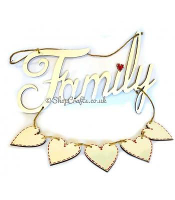 """Family"" plaque with five hanging hearts."