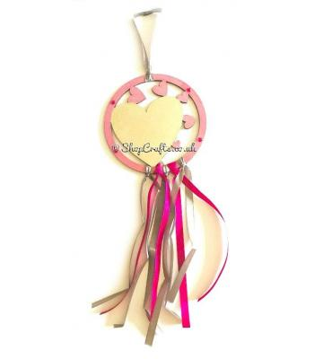 Hanging mini dream catcher - heart version.