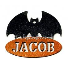 Bat shaped personalised halloween hanging decoration/tag.