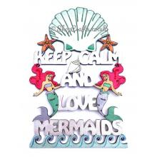 """""""Keep calm and love mermaids"""" hanging quote sign."""