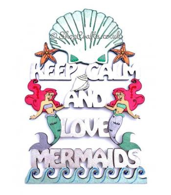 """Keep calm and love mermaids"" hanging quote sign."