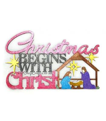 """Christmas begins with Christ"" nativity sign."
