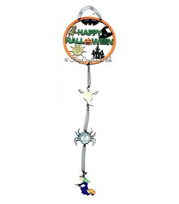 Halloween themed dream catcher with hanging decorations.