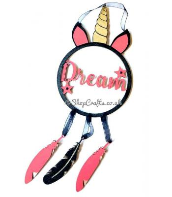 "Dream catcher with hanging feathers - ""Unicorn Dreams"" version."