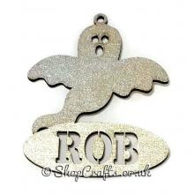 Ghost shaped personalised Halloween hanging decoration/tag.