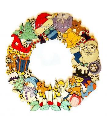 Christmas shapes hanging wall/door wreath.
