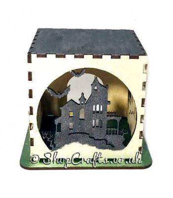 Halloween tea light box - Haunted house version.