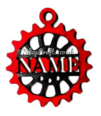 Steampunk style personalised Christmas tree decoration.