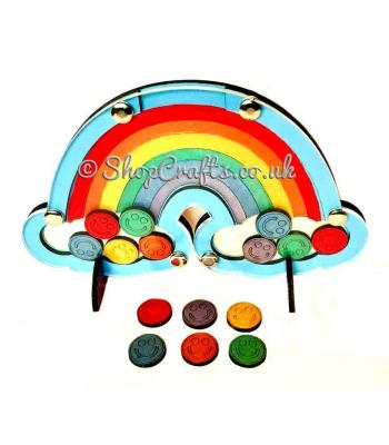 Rainbow shaped reward chart token drop box.