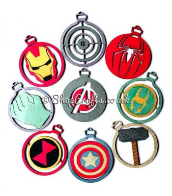 Comic book character christmas tree baubles - buy all 8 and get an avengers bauble FREE
