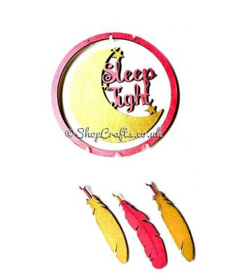 """Dream catcher with hanging feathers - """"Sleep Tight"""""""