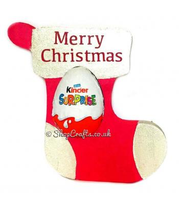 Christmas stocking shaped 18mm thick freestanding confectionary holder.