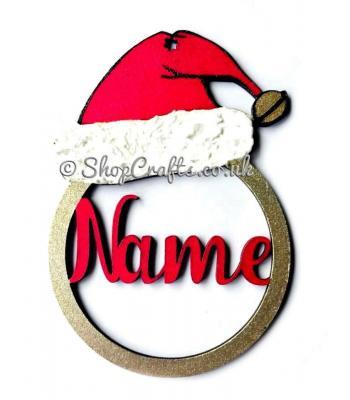 Santa hat personalised Christmas tree decoration.