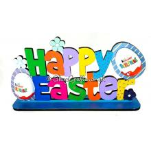 "Reusable ""Happy Easter"" kinder egg sign on stand."