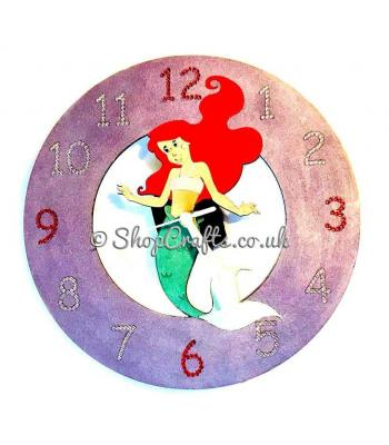Wooden wall clock - mermaid theme.
