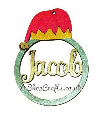 Elf hat personalised Christmas tree decoration.