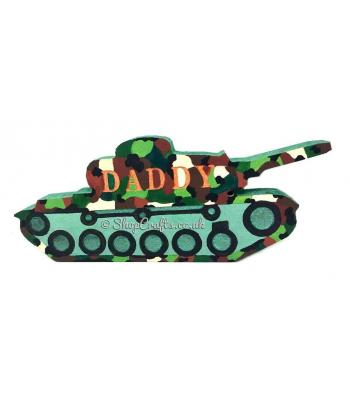 """Shelfie"" - personalised 18mm thick freestanding army tank shape."