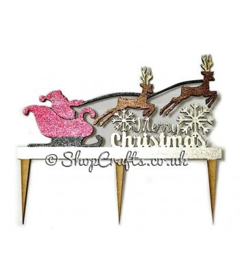 Reusable Christmas cake topper - Santa's sleigh version *OTHER DESIGNS AVAILABLE*