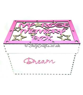 Memory keepsake box with personalised frame on the lid.