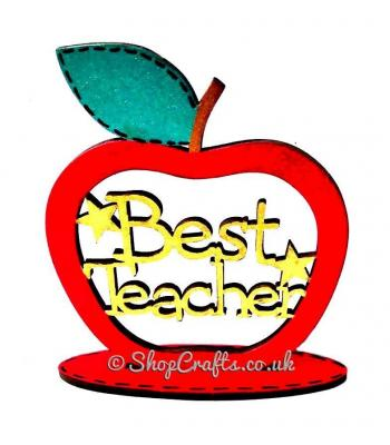 Best Teacher keepsake apple on stand.