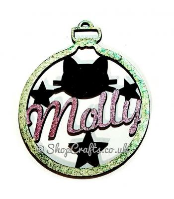 Cat or dog theme personalised pet christmas tree bauble.