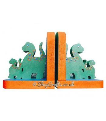 18mm thick freestanding wooden bookends - dinosaur theme.