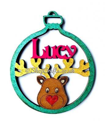 Reindeer head personalised christmas tree decoration.