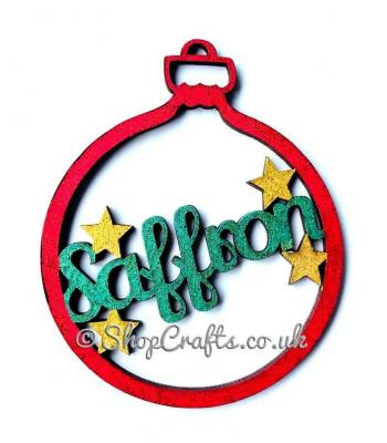 Personalised name christmas tree bauble with star detail.