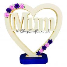 """MUM"" personalised keepsake heart with flower embellishments on stand *OTHER VERSIONS AVAILABLE*"