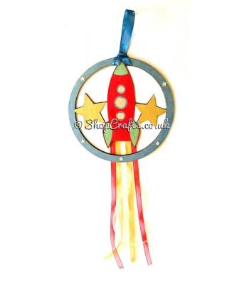 Hanging mini dream catcher - rocket version.