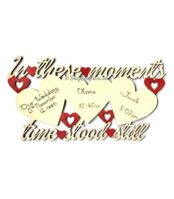 """In These Moments"" triple heart hanging plaque."