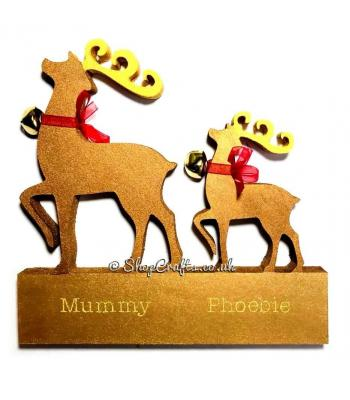 Fancy reindeer 18mm thick family on stand.