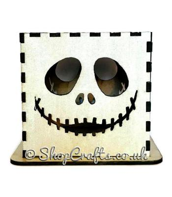 Halloween tea light holder - Grinning skeleton design.
