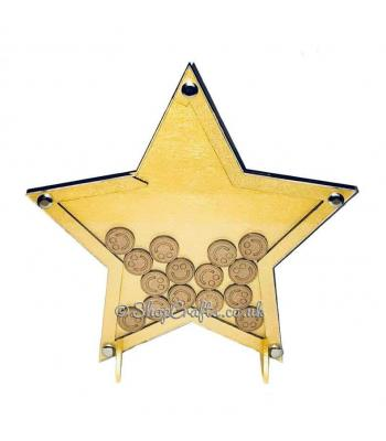 Star shaped reward chart token drop box.