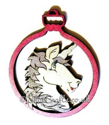 Unicorn character christmas tree bauble.