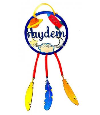 Space dream catcher with hanging feathers - personalised version.