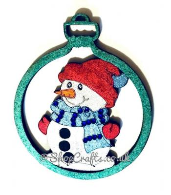 Snowman character christmas tree bauble.