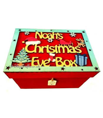 Personalised Christmas Eve box with framed topper - Christmas shapes design