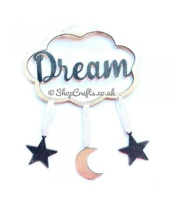 """Dream catcher - """"Dream"""" cloud version with hanging moon and stars."""