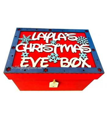 Personalised Christmas Eve box with framed topper - snowflakes design.
