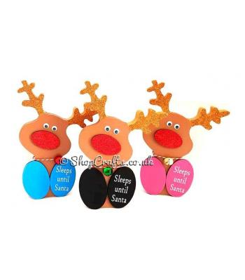 18mm Freestanding 3D Cute Sitting Rudolph Reindeer christmas count down chalk board