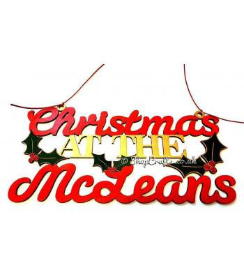 personalised hanging holly christmas at the ..... surname sign