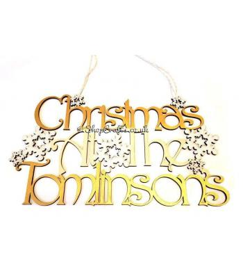 Personalised christmas at the ...... surname snowflake sign