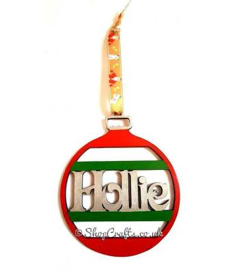 Personalised Name Christmas Tree Stripe Design Bauble