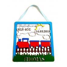 Personalised Box Frame Birth Plaque - Train Theme