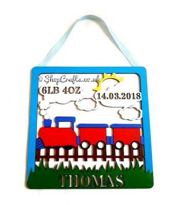 Personalised Box Frame Birth Plaque - Train Theme