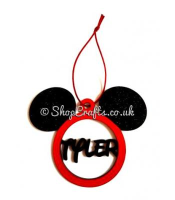 Mickey mouse personalised name christmas tree bauble