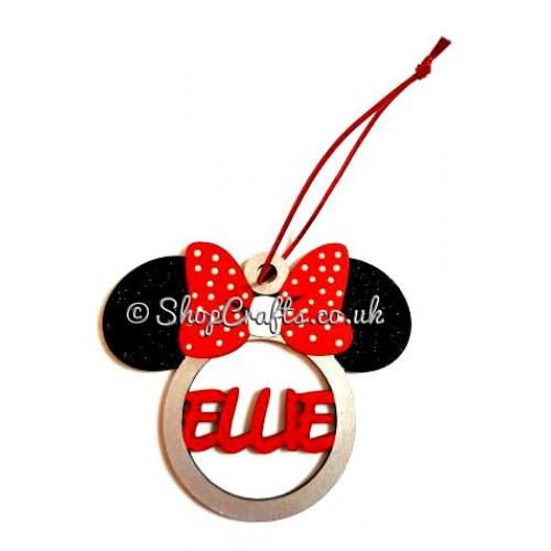 Christmas Minnie Mouse Head.Personalised Minnie Mouse Christmas Tree Bauble