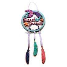 """Sweet Dreams"" Mermaid Dream Catcher With Hanging Feathers"