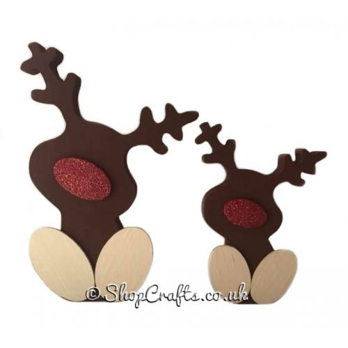 Wooden MDF Reindeer Family Freestanding 18mm thick Christmas Decorations